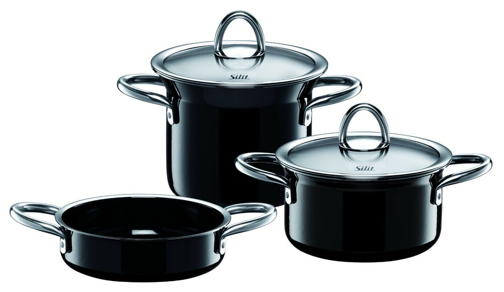 wmf silit ceramic minimax 5 piece cookware set in black made in germany ebay. Black Bedroom Furniture Sets. Home Design Ideas
