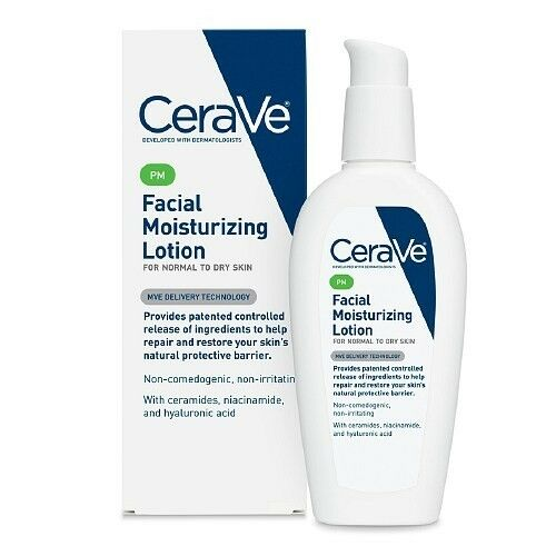 Cerave moisturizing lotion on face