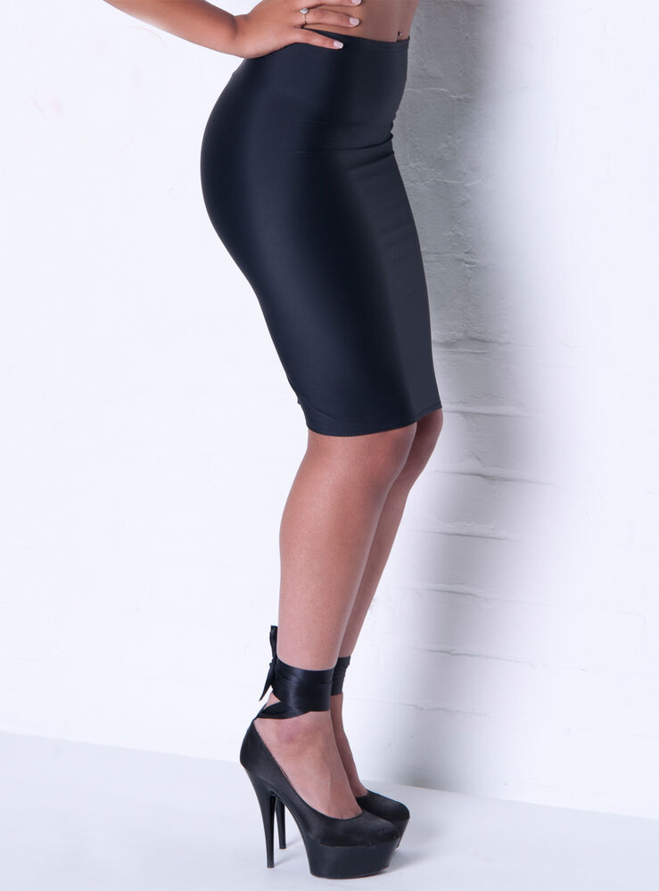 Black Silky Lycra Pencil Skirt 12 14 Wiggle Tight Sexy