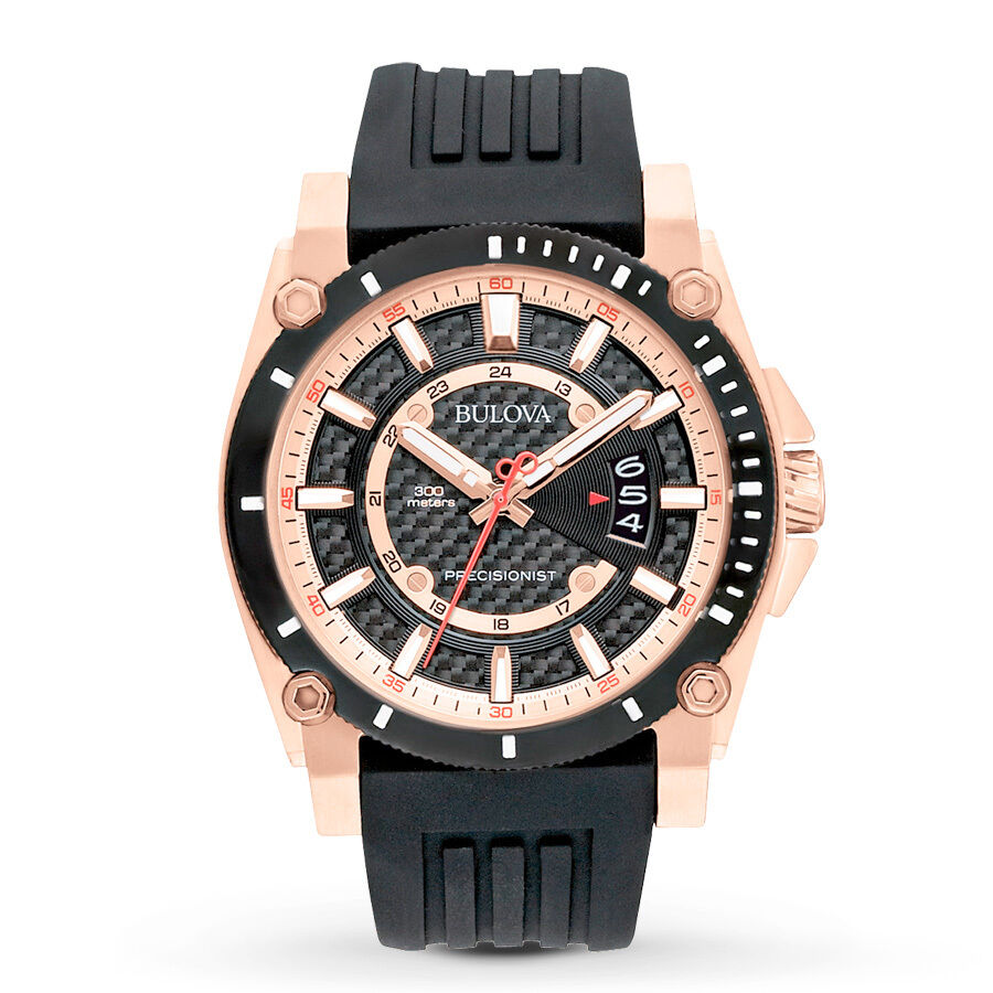 new bulova 98b152 precisionist champlain rose gold tone rubber new bulova 98b152 precisionist champlain rose gold tone rubber strap men 039 s watch