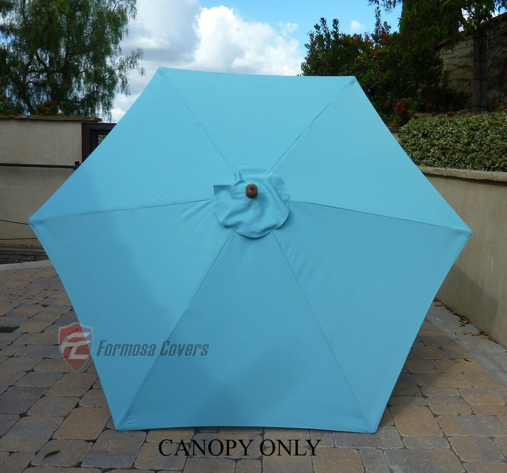 9ft patio outdoor market umbrella replacement canopy cover top 6 ribs light blue 709504983146 ebay. Black Bedroom Furniture Sets. Home Design Ideas