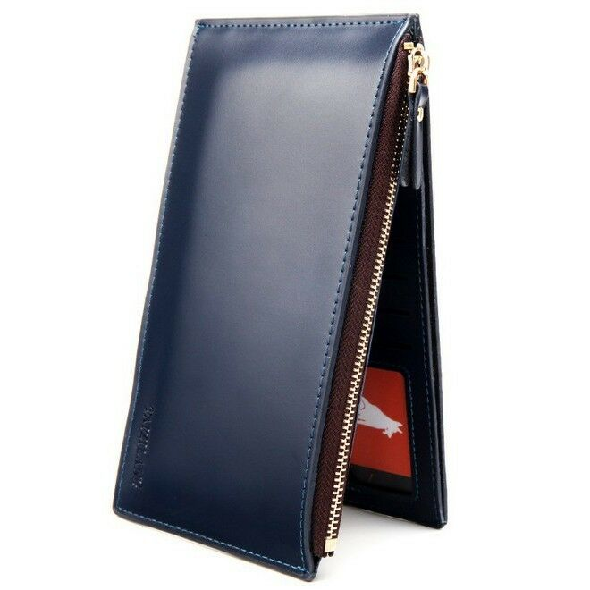 Mens Long Faux Leather ID Credit Card Iphone Holder Clutch