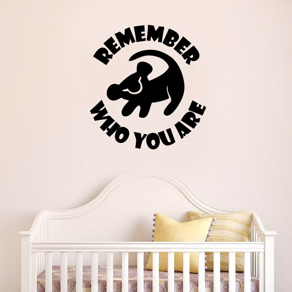 lion king remember who you are quote simba disney wall art decal sticker ebay. Black Bedroom Furniture Sets. Home Design Ideas