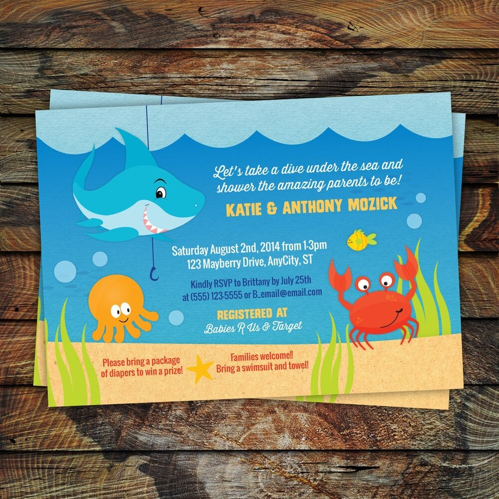 Baby Shower Gifts Under 10 Dollars ~ Under the sea shark baby shower or birthday invitations