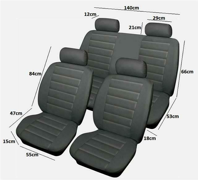 cover up damaged torn burns faded car seats covers grey leatherlook pair 4pc ebay. Black Bedroom Furniture Sets. Home Design Ideas