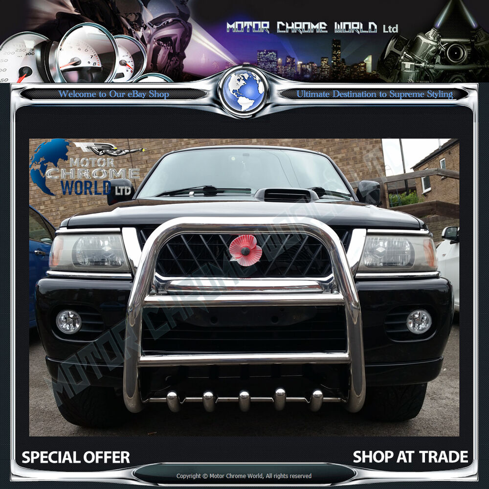 Mitsubishi Sports Car List: MITSUBISHI SHOGUN / PAJERO SPORT BULL BAR CHROME AXLE