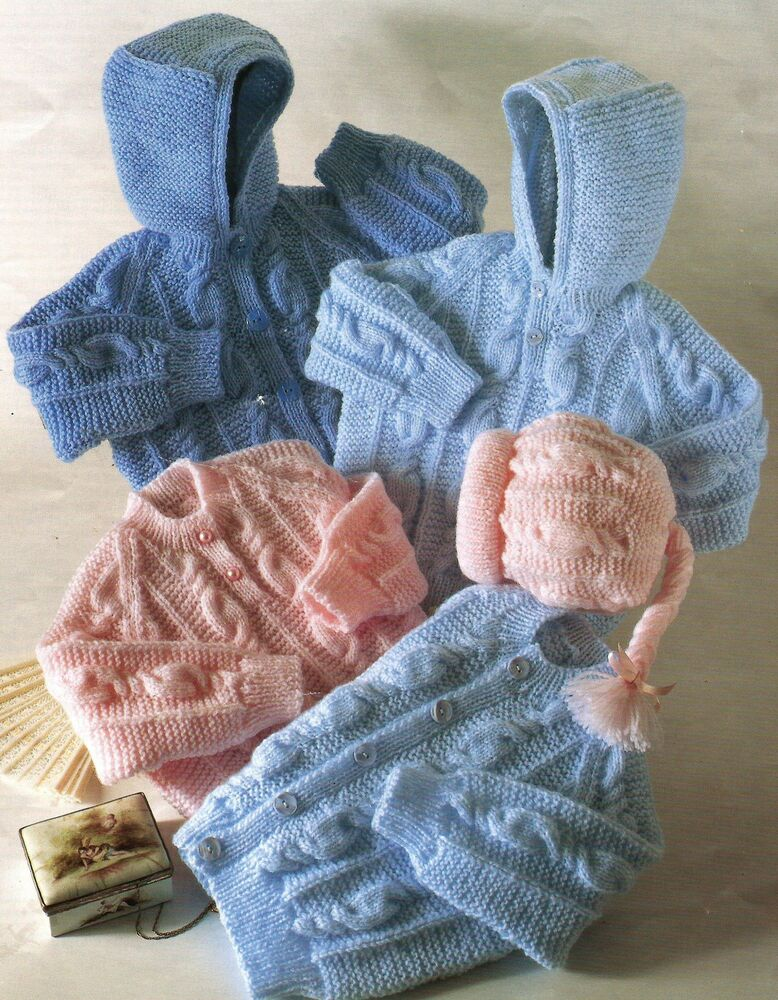 Knitting Patterns For Babies Double Knitting : Baby Knitting Pattern Jackets Sweaters and Hats 16-26