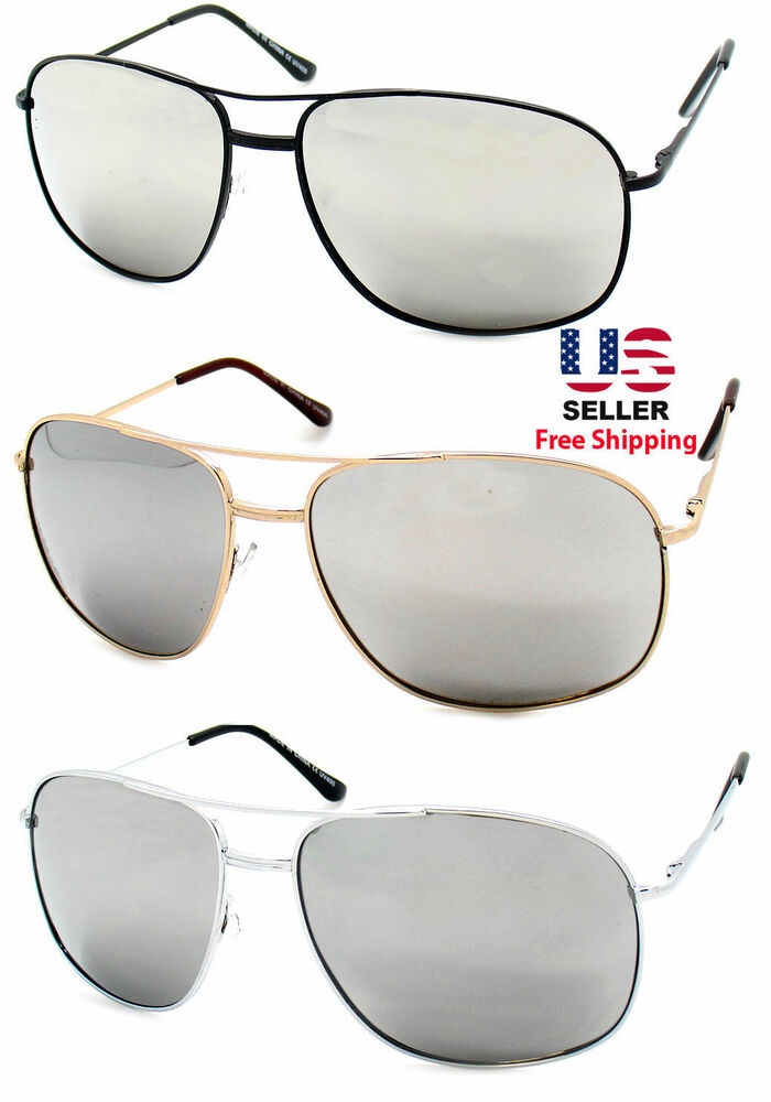 Aviator Sunglasses Gold Frame Mirror Lens : GOLD SILVER BLACK AVIATOR STYLE METAL FRAME LARGE MIRROR ...