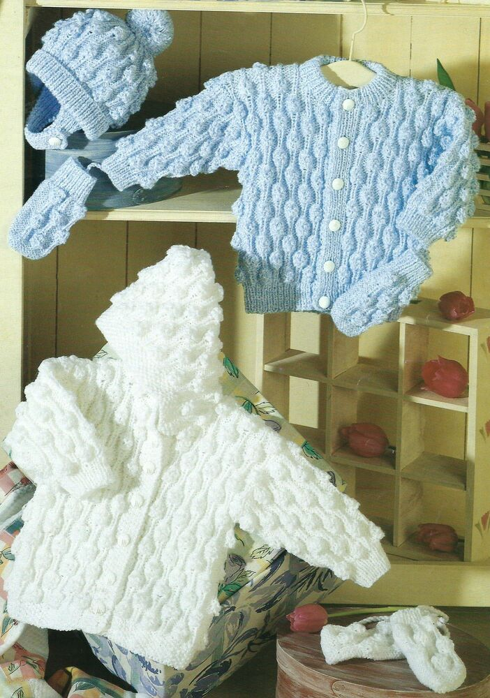"Baby Knitting Pattern Jacket Cardigan & Hat 16-26"" Double ..."