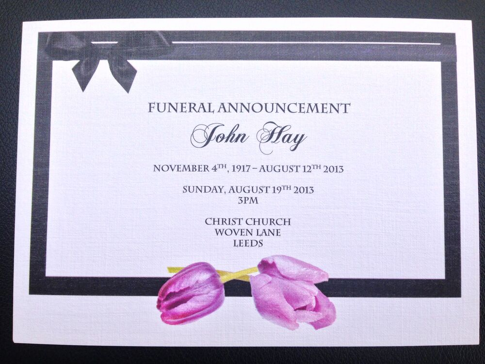 25 x Personalised Funeral Announcement / Invitation cards