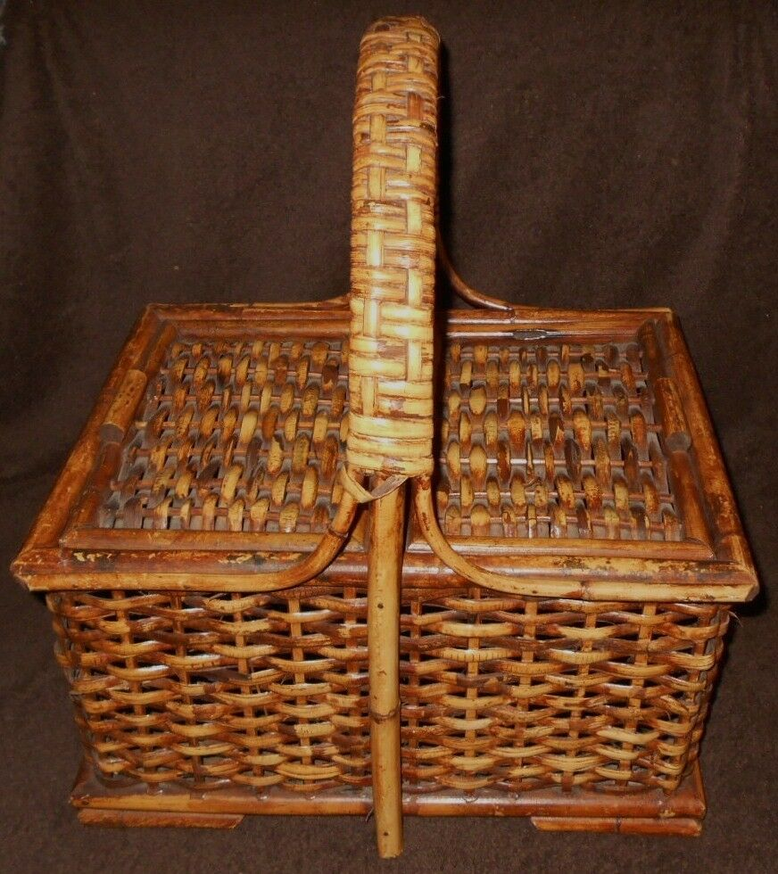 picnic basket bamboo wicker square woven handle hinged lid 18 x 16 x 13 ebay. Black Bedroom Furniture Sets. Home Design Ideas