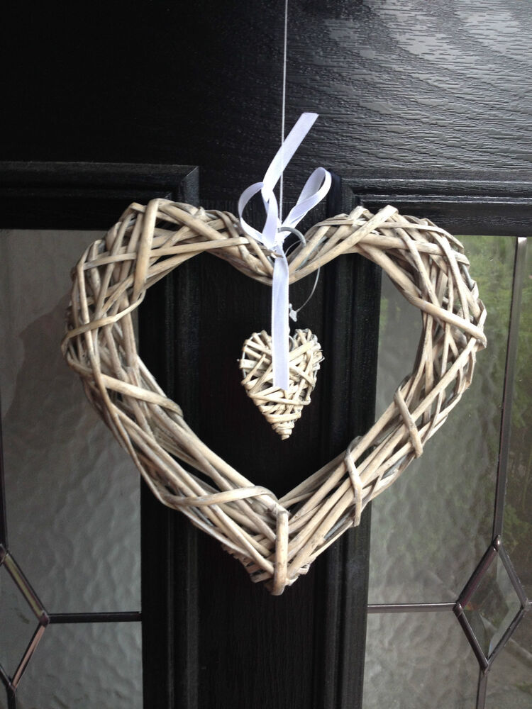 Shaby chic vintage wooden heart door window wall hanging for Wooden heart wall decor