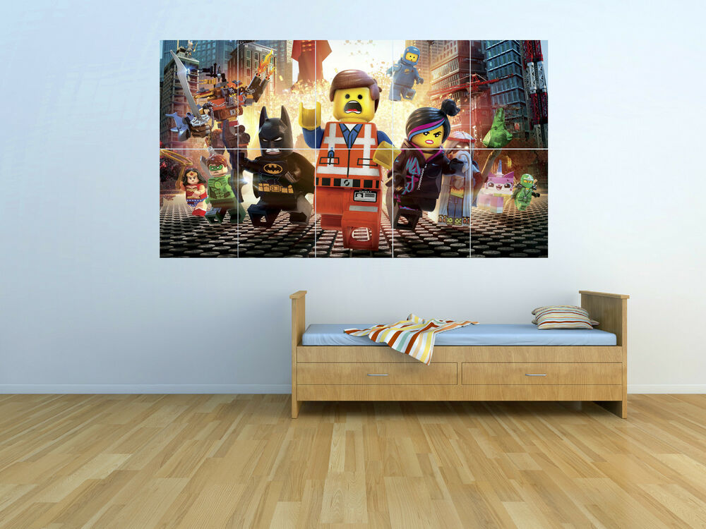 nouveau le film lego art poster mural g ant set tlm04 ebay. Black Bedroom Furniture Sets. Home Design Ideas
