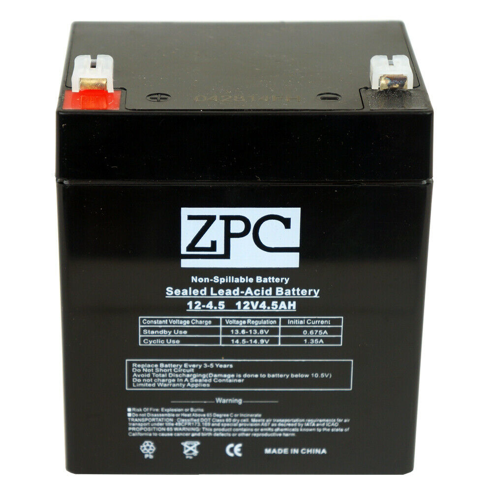 zpc 12v 4 5ah 12 volt 4 5 amp hour sealed lead acid sla. Black Bedroom Furniture Sets. Home Design Ideas