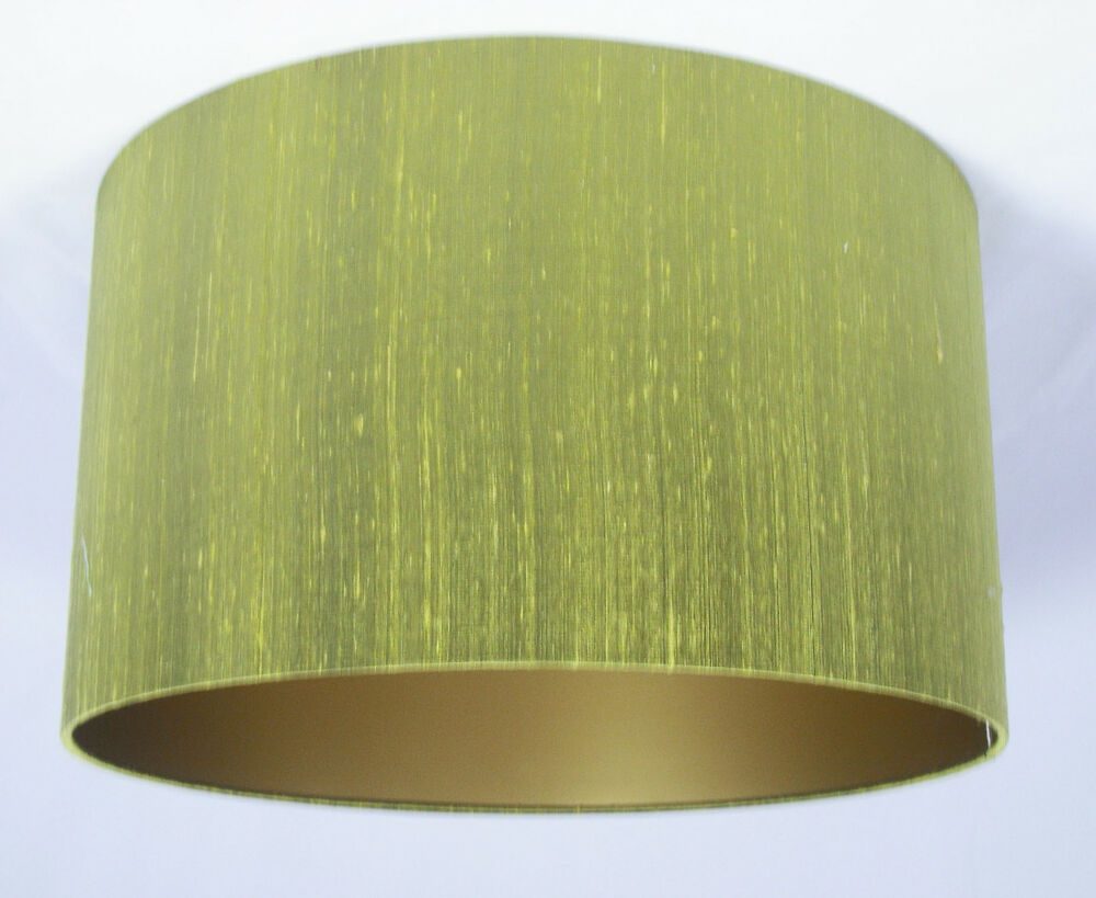 "13"" Lampshade Lime Green Silk with a Gold Lining 