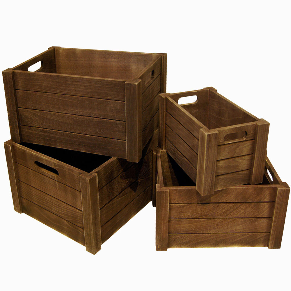 4 holzkiste weinkiste holzbox rustikale kiste deko aufbewahrungsbox box 13001 ebay. Black Bedroom Furniture Sets. Home Design Ideas