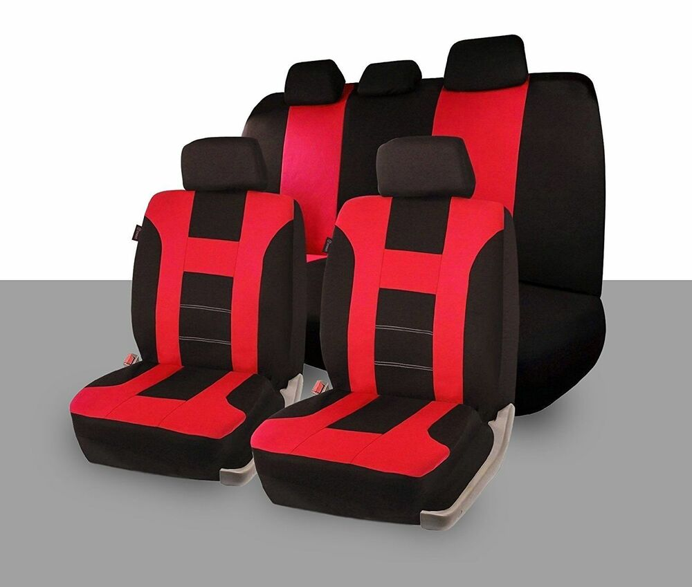 Zone Tech Universal Full Set Of Red And Black Car Seat