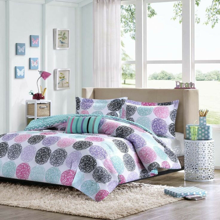 beautiful modern blue teal grey white purple pink girls comforter set w pillow ebay. Black Bedroom Furniture Sets. Home Design Ideas