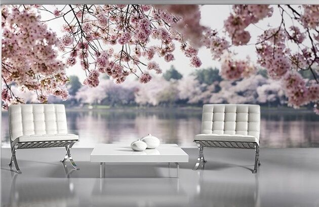 WALLPAPER MURAL PHOTO Pink Flowers Lake And Trees WALL