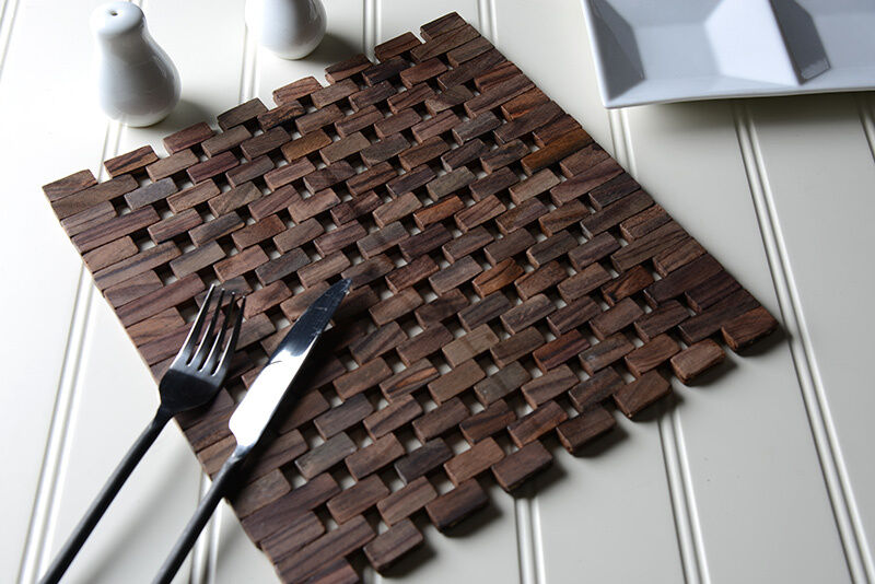 Set Of 2 Dark Wood Square Slatted Placemats Table Mats Ebay