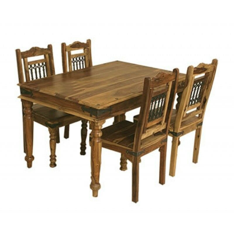 brand new jali indian solid sheesham wood 135cm dining table and 4 chairs ebay. Black Bedroom Furniture Sets. Home Design Ideas