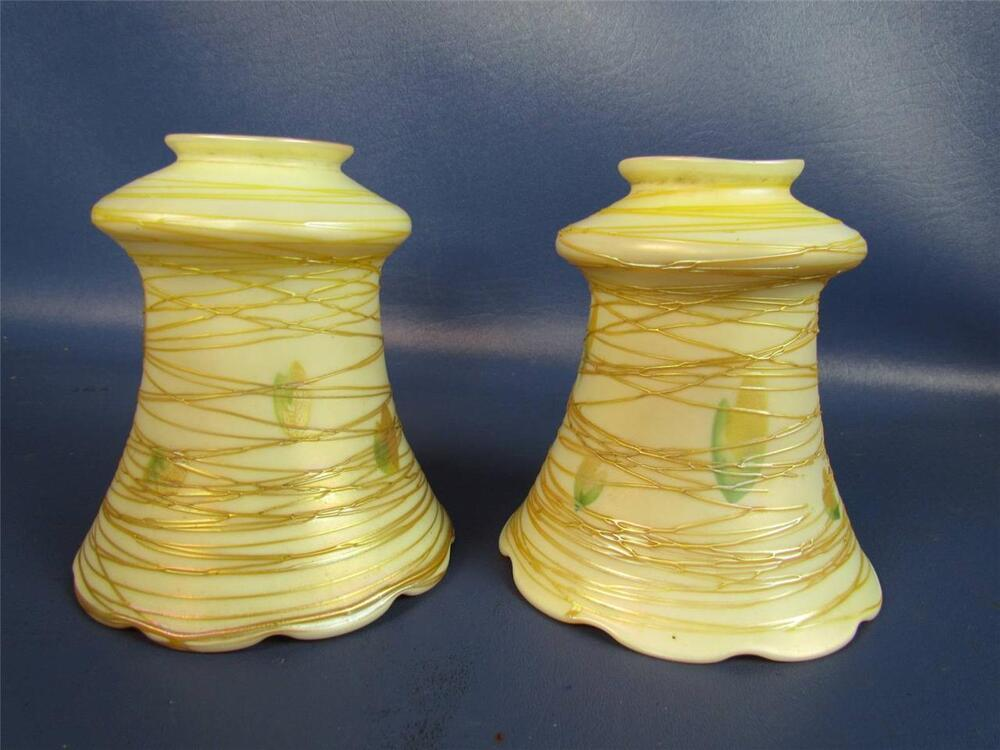 pair of antique quezal threaded glass lamp shades ebay 87992