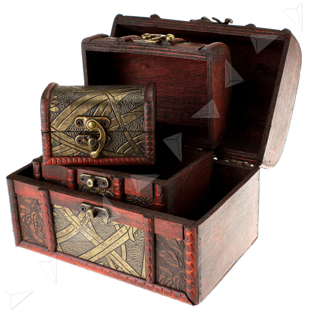 3 x wooden pirate jewellery storage box case holder for Storage treasures