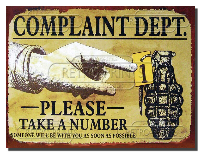 funny metal vintage retro wall door sign plaque complaint dept ebay. Black Bedroom Furniture Sets. Home Design Ideas