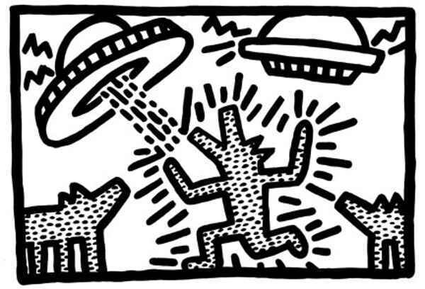 Keith Haring 1982 Dogs With Ufos Abstract Contemporary Pop