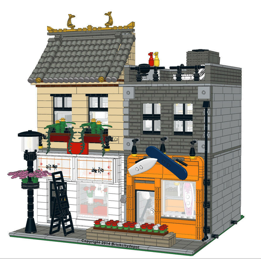 Lego custom modular building japanese restaurant board Custom build a house online