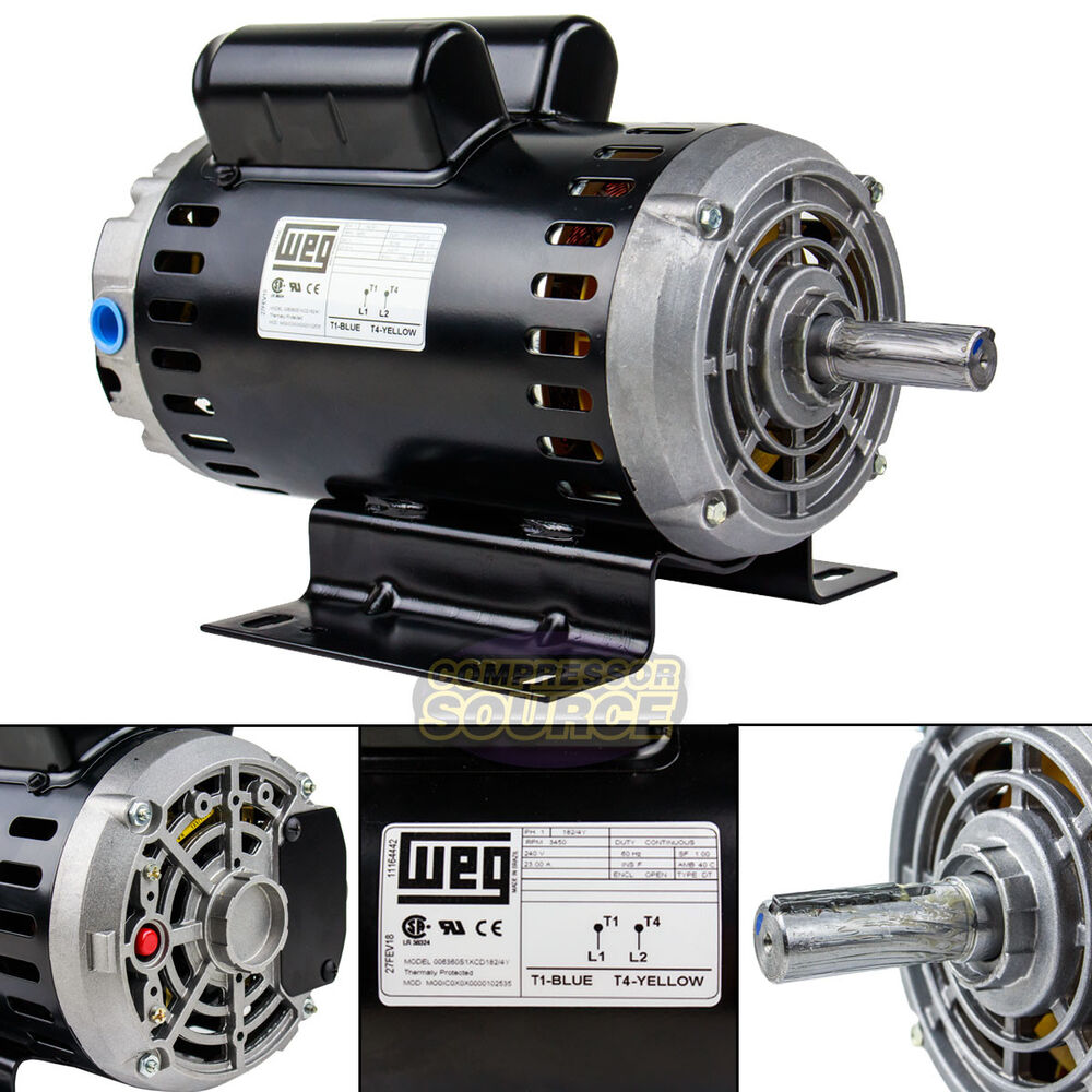 6 4 hp 3450 rpm single phase 240v 56 frame electric air for 5hp air compressor motor single phase