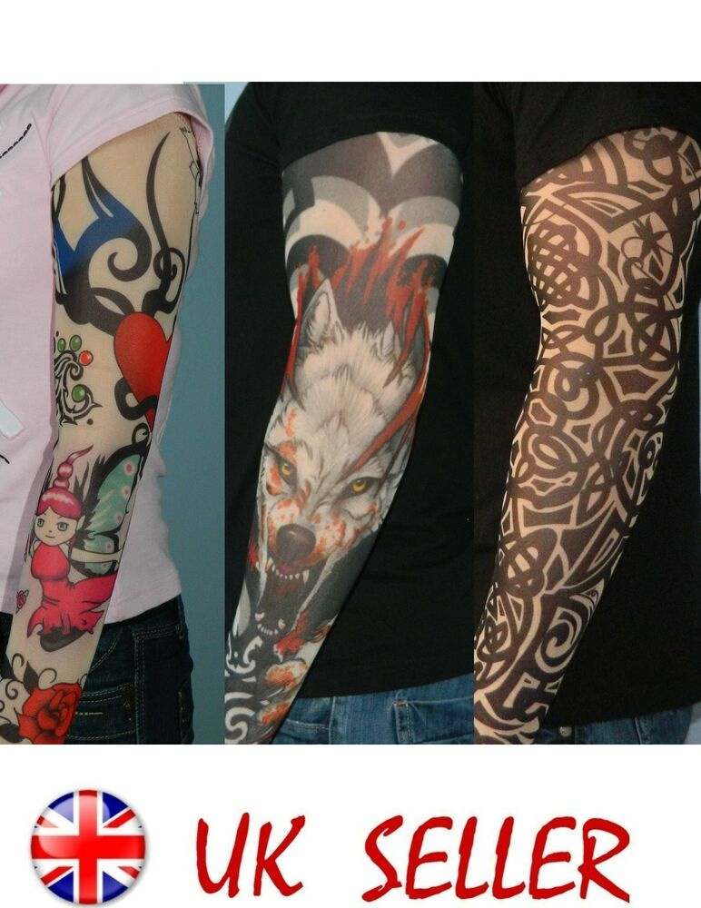 tattoo sleeves 16 designs party fancy dress temporary ebay. Black Bedroom Furniture Sets. Home Design Ideas