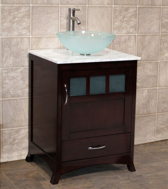 24 Bathroom Vanity Cabinet White Tech Stone Quartz Glass Vessel Sink Faucet Tr Ebay