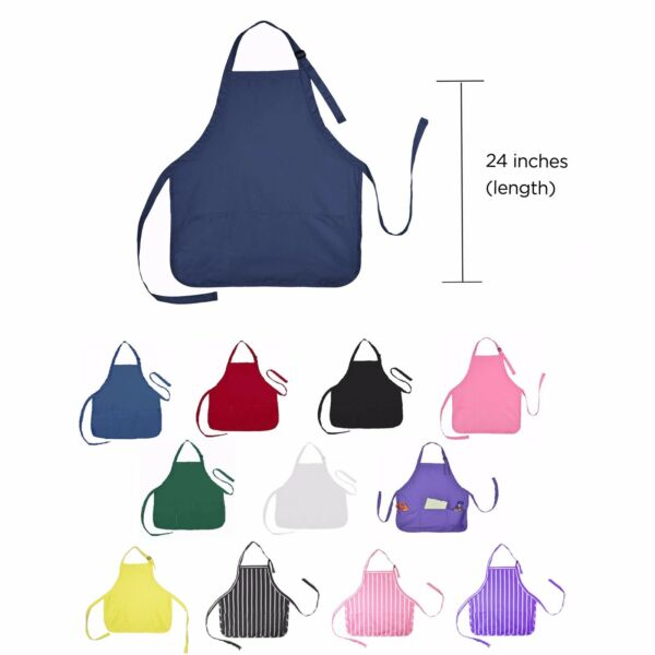 Aprons Commercial Restaurant Home Residential Bib Spun Poly Cotton - 3 Pockets
