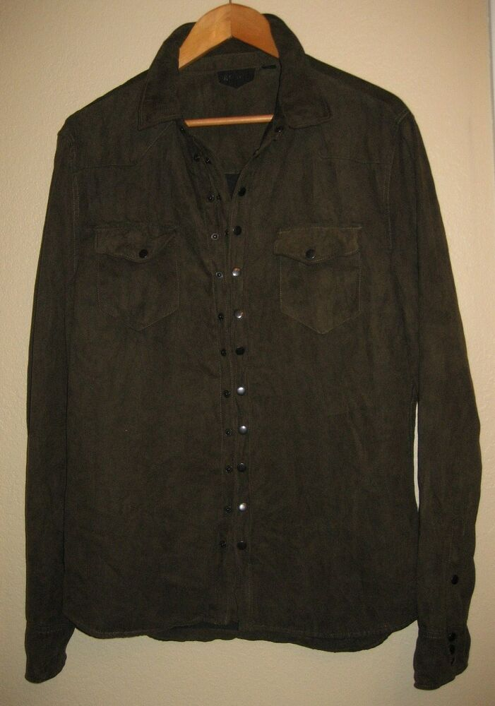 Rogue Men 39 S Olive Green Suede Shirt Jacket Size L Mint