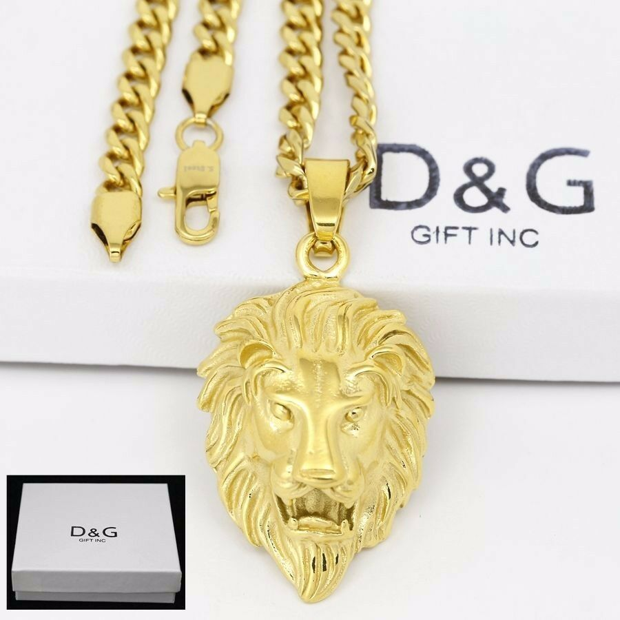 Dg mens 24gold stainless steellion head pendantcuban curb dg mens 24gold stainless steellion head pendantcuban curb chain necklacebox ebay aloadofball Image collections