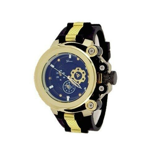 gold black fashion mens designer geneva silicone sports
