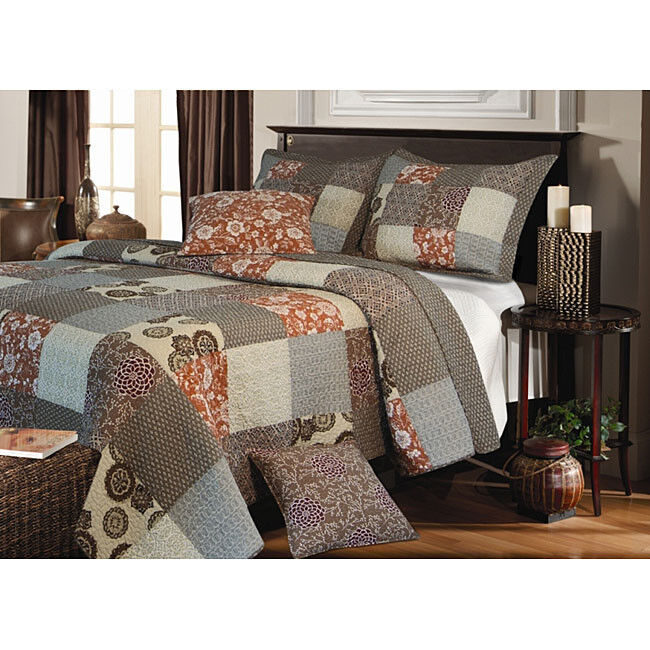 Beautiful Modern Patchwork Blue Taupe Grey Plaid Cotton
