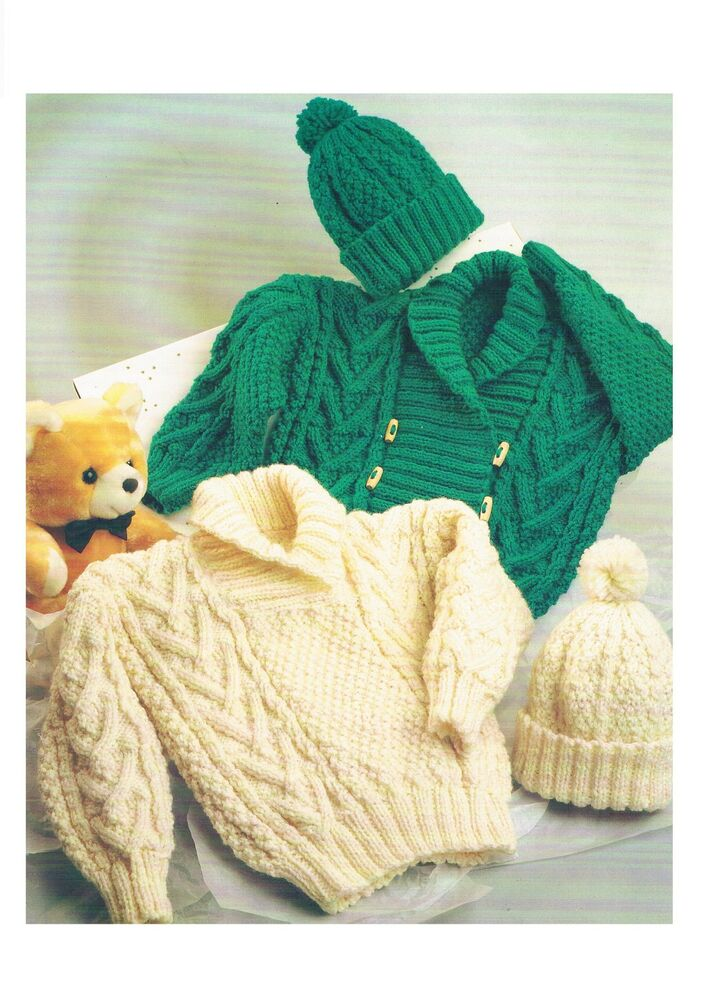 Childs Aran Hat Knitting Pattern : Baby Childs Aran Sweater Jacket Hat Vintage Knitting ...
