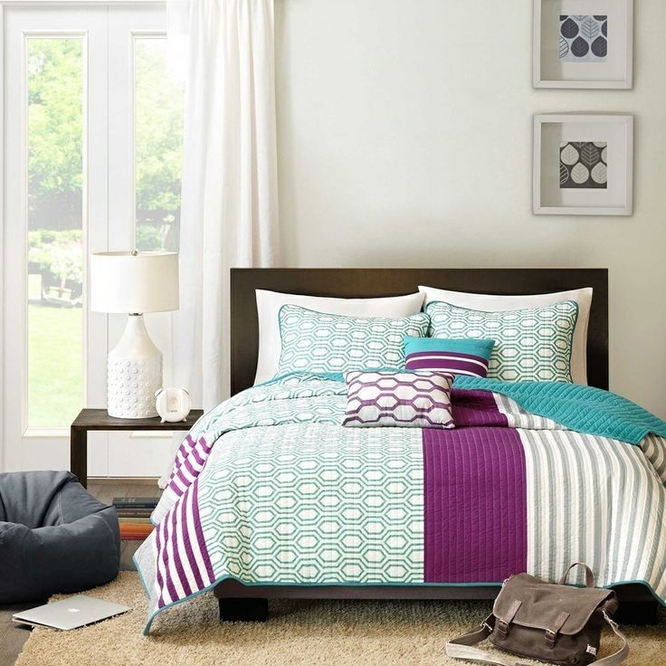 modern chic blue teal aqua purple white grey stripe soft quilt set pillows new ebay. Black Bedroom Furniture Sets. Home Design Ideas