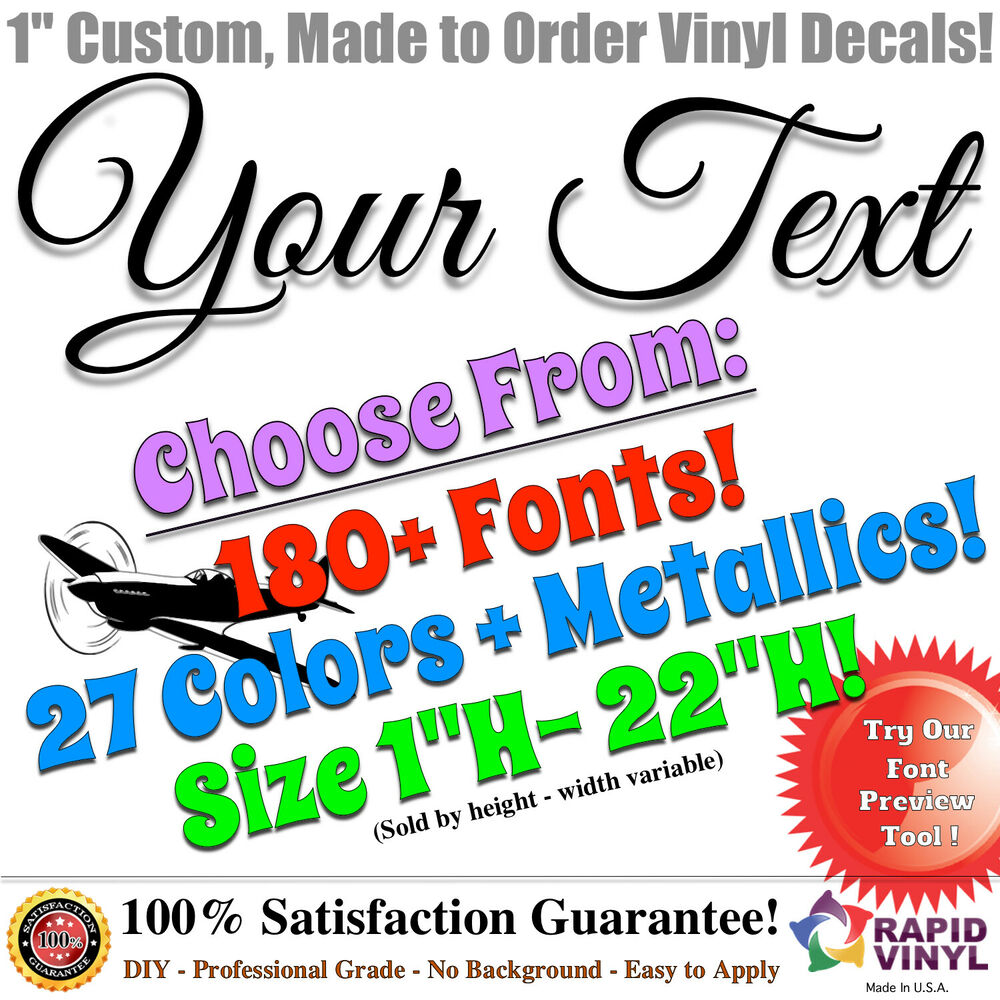 Details about 1 custom vinyl lettering decal sticker vinyl car window plane helicopter rc