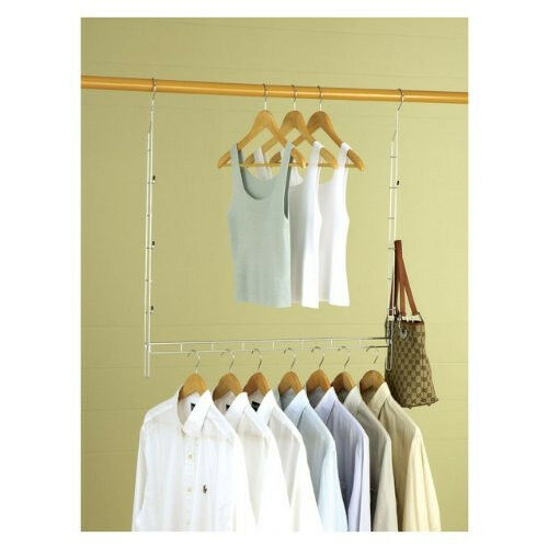 Closet space saver hanging extension bar extra rack doubler home clothes storage ebay - Hanging clothes in small spaces collection ...