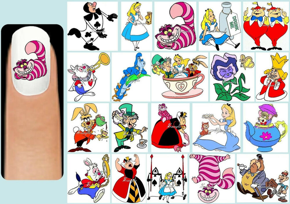 60x ALICE IN WONDERLAND Nail Art Decals + Free Gems Disney ...