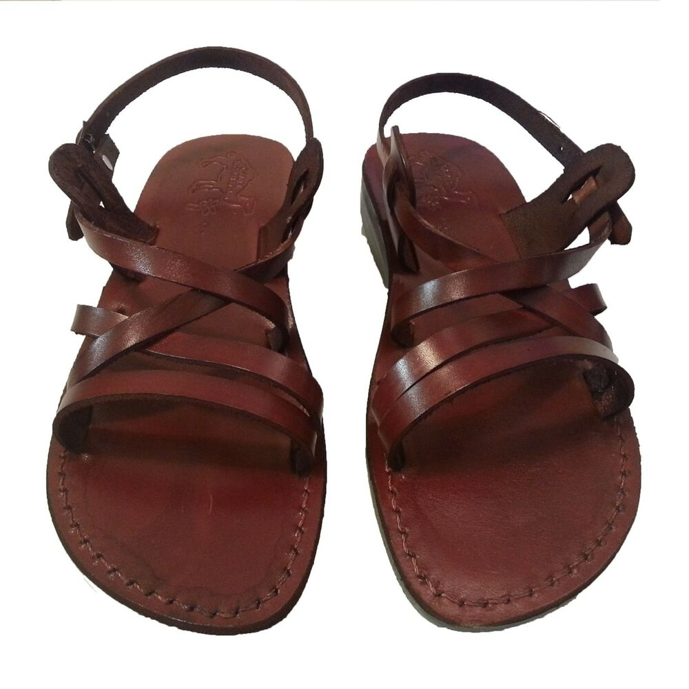 women 39 s brown leather biblical jesus sandals slip on shoe. Black Bedroom Furniture Sets. Home Design Ideas