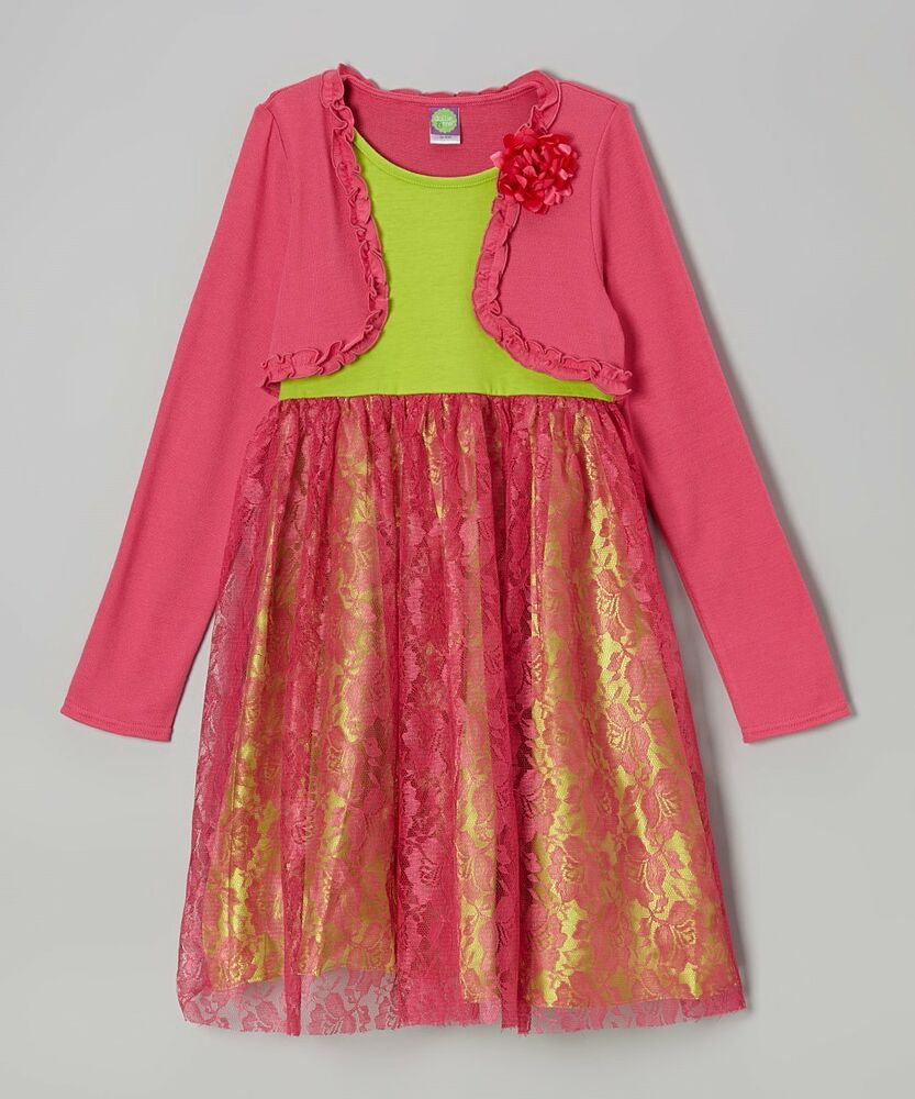 Me girls pink amp green lace dress holiday outfit size 5 6 7 8 ebay