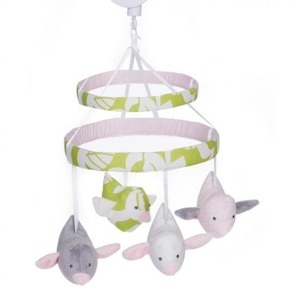 Carter 39 s sweet songs girl 39 s crib musical mobile pink green for Baby mobile pink and grey