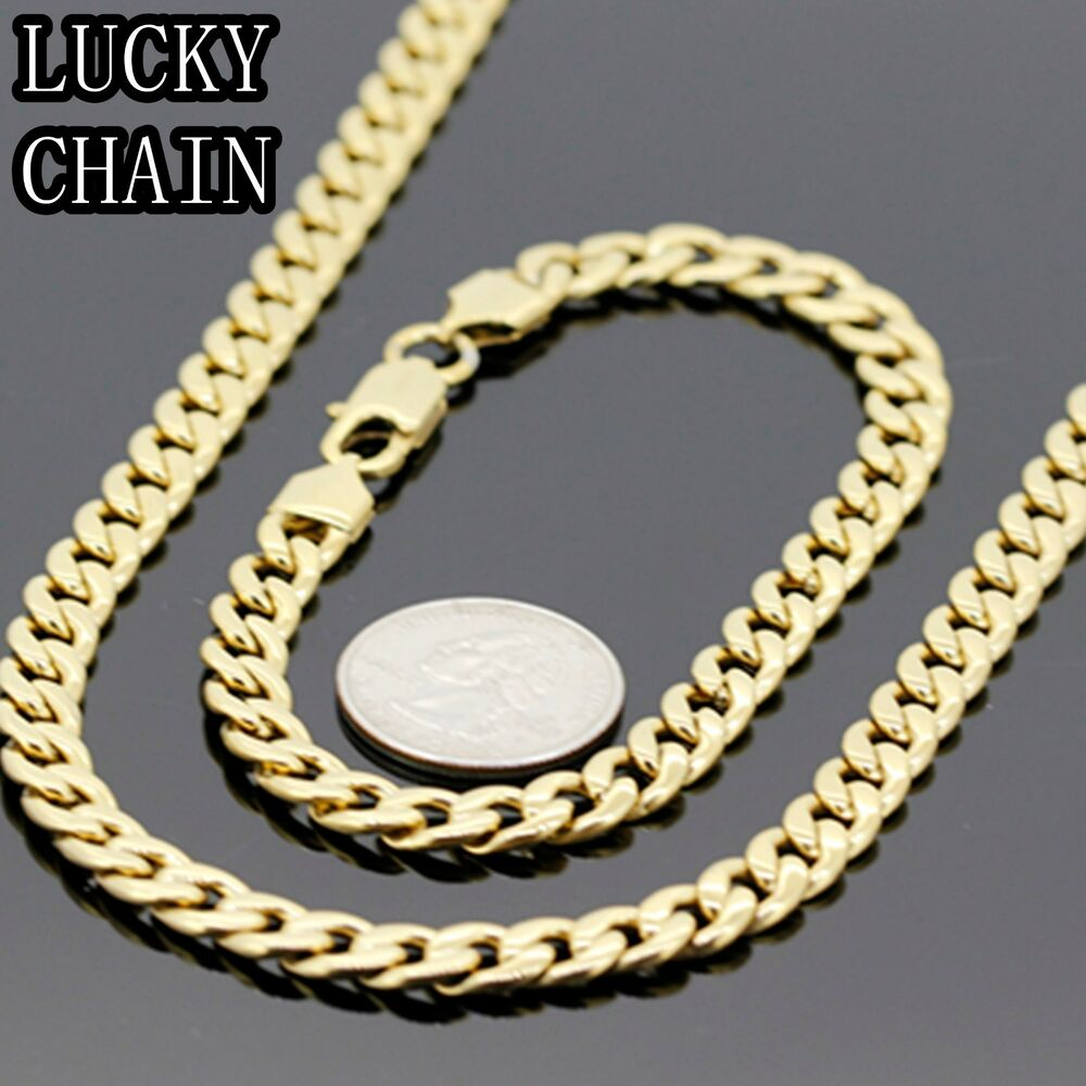 24 stainless steel gold cuban curb chain necklace. Black Bedroom Furniture Sets. Home Design Ideas