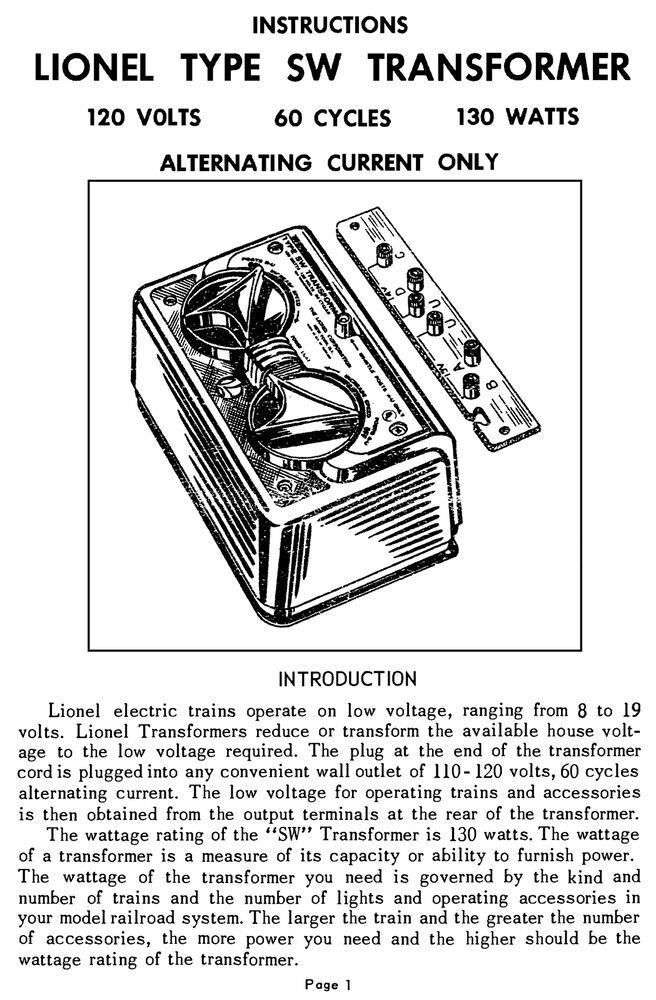 copy of lionel sw transformer instructions and service and