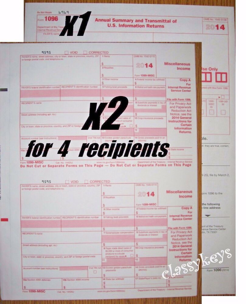 2014 IRS Tax Form 1099-MISC Carbonless -- 4 Recipients (2