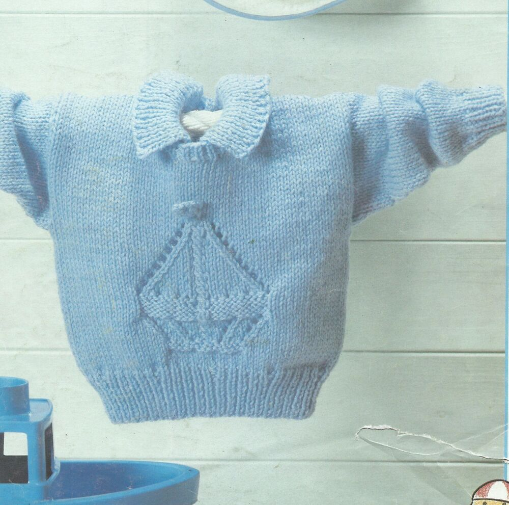 Knitting Patterns Baby Motifs : Baby Knitting Pattern Sweater with Boat motif 16-24